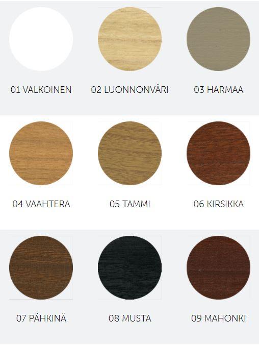 EXK puusälekaihdinten värivalikoima