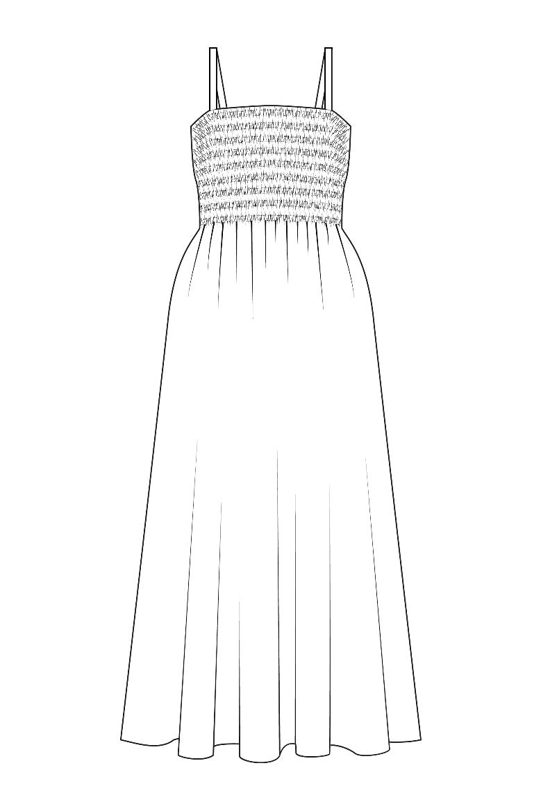 Kuminauhapoimutettu mekko kaava