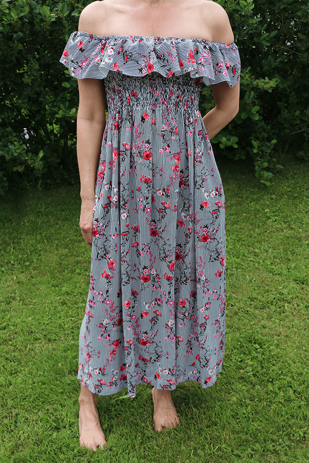Kuminauhapoimutettu mekko ompeluohje